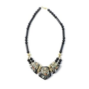 Japanese art necklace black plastic enamel large chunky statement jewelry Asian